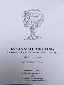 65th Annual Meeting of the Southwestern Association of Naturalists Meeting at Texas State University, San Marcos, Texas.