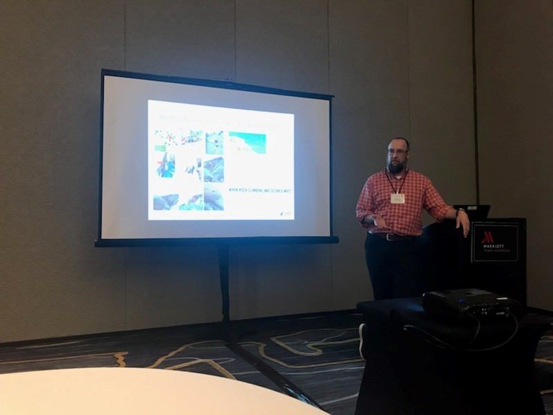 Rob Schorr presenting the Climbers for Bat Conservation project at the Association of Fish and Wildlife Agencies meeting in Tampa, Florida, September 9, 2018.