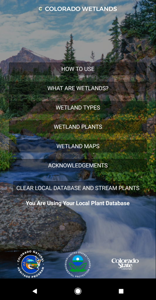CNHP Wetland Field Guide App Screenshot