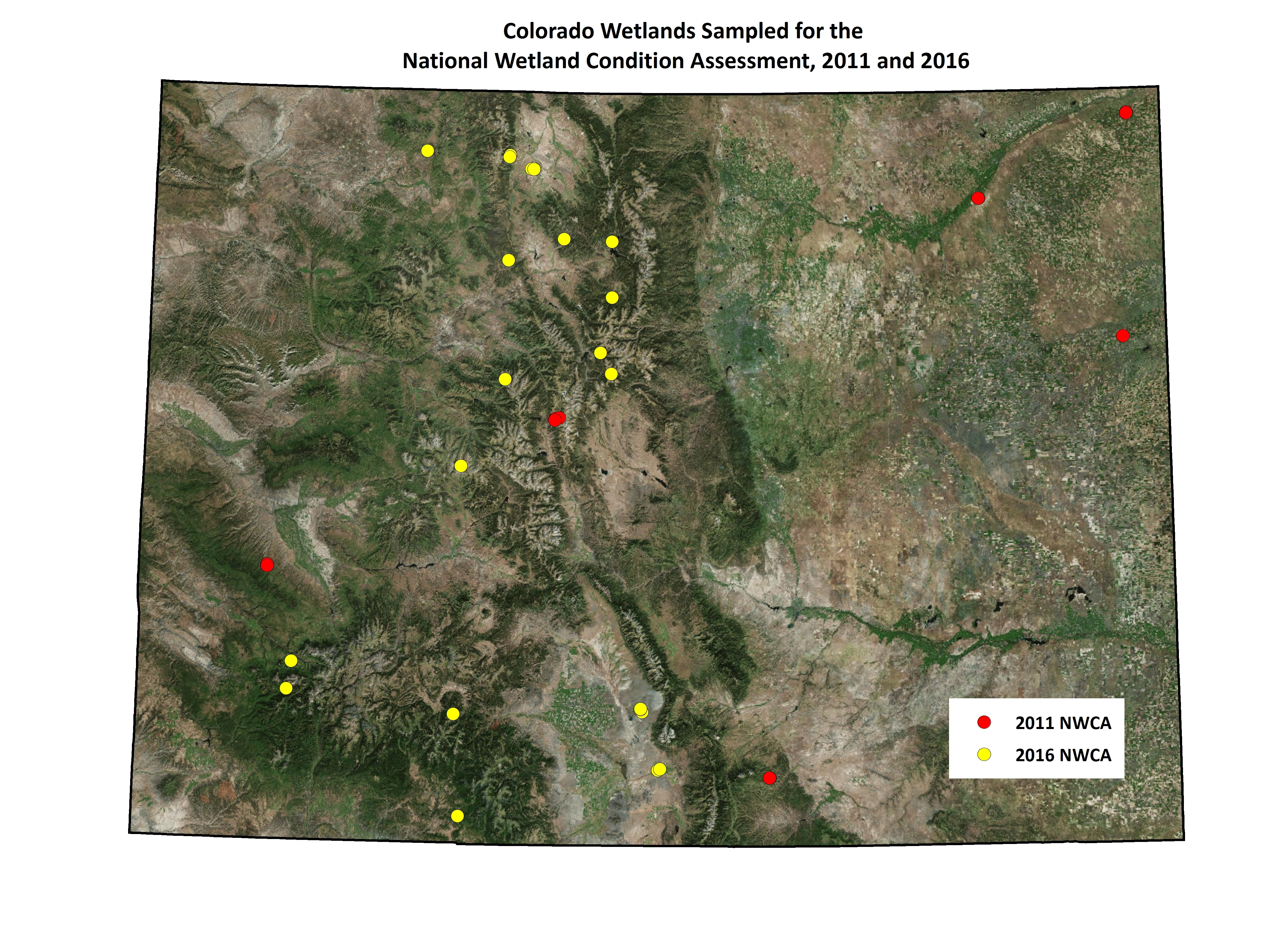 Map of wetlands sampled in Colorado for the National Wetland Condition Assessment, 2011 and 2016. Points may represent more than one sampled wetland site.