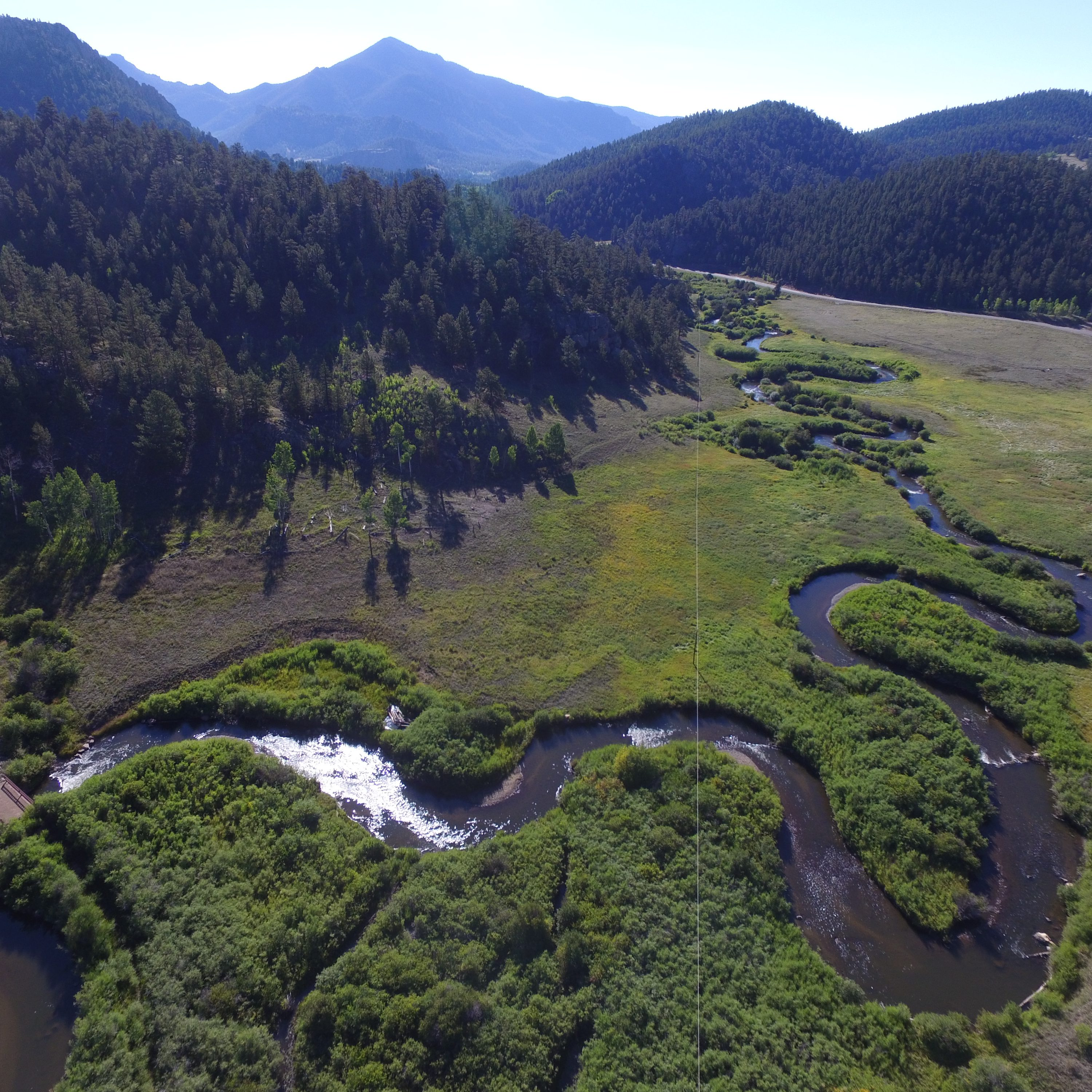 Aerial view of the Tarryall Creek riparian and stream restoration site. Mark Beardsley, EcoMetrics.