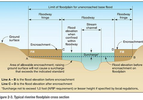 Floodplain cross section showing the floodway and floodway fringe. FEMA.