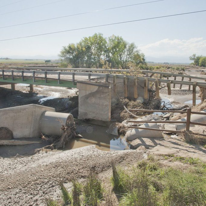 Bridge damage from the 2013 flood in Longmont, CO. Patsy Lynch, FEMA.