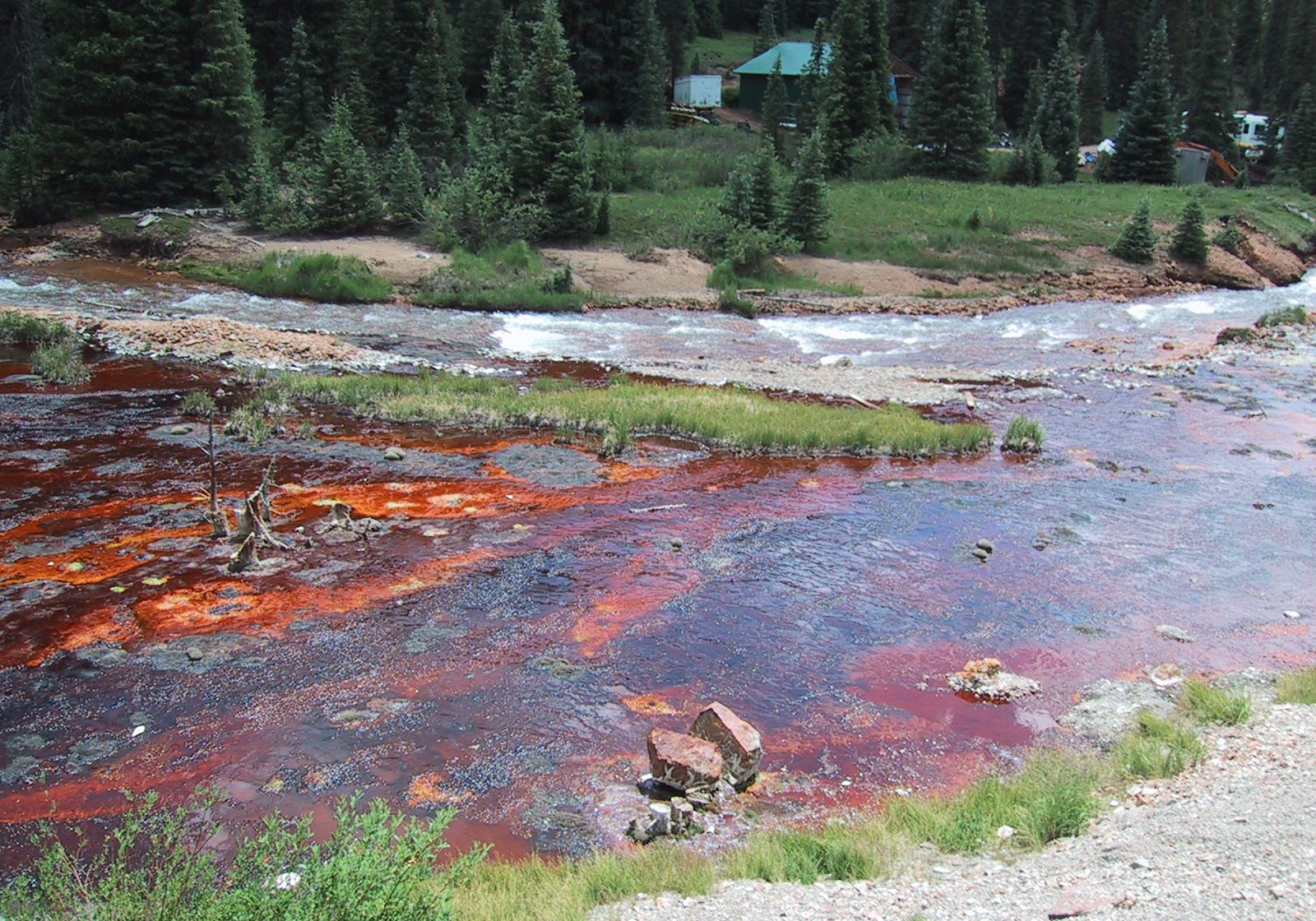 Influx of metal-rich groundwater from natural springs (foreground) to Cement Creek, Colorado (background). Briant Kimball, USGS.