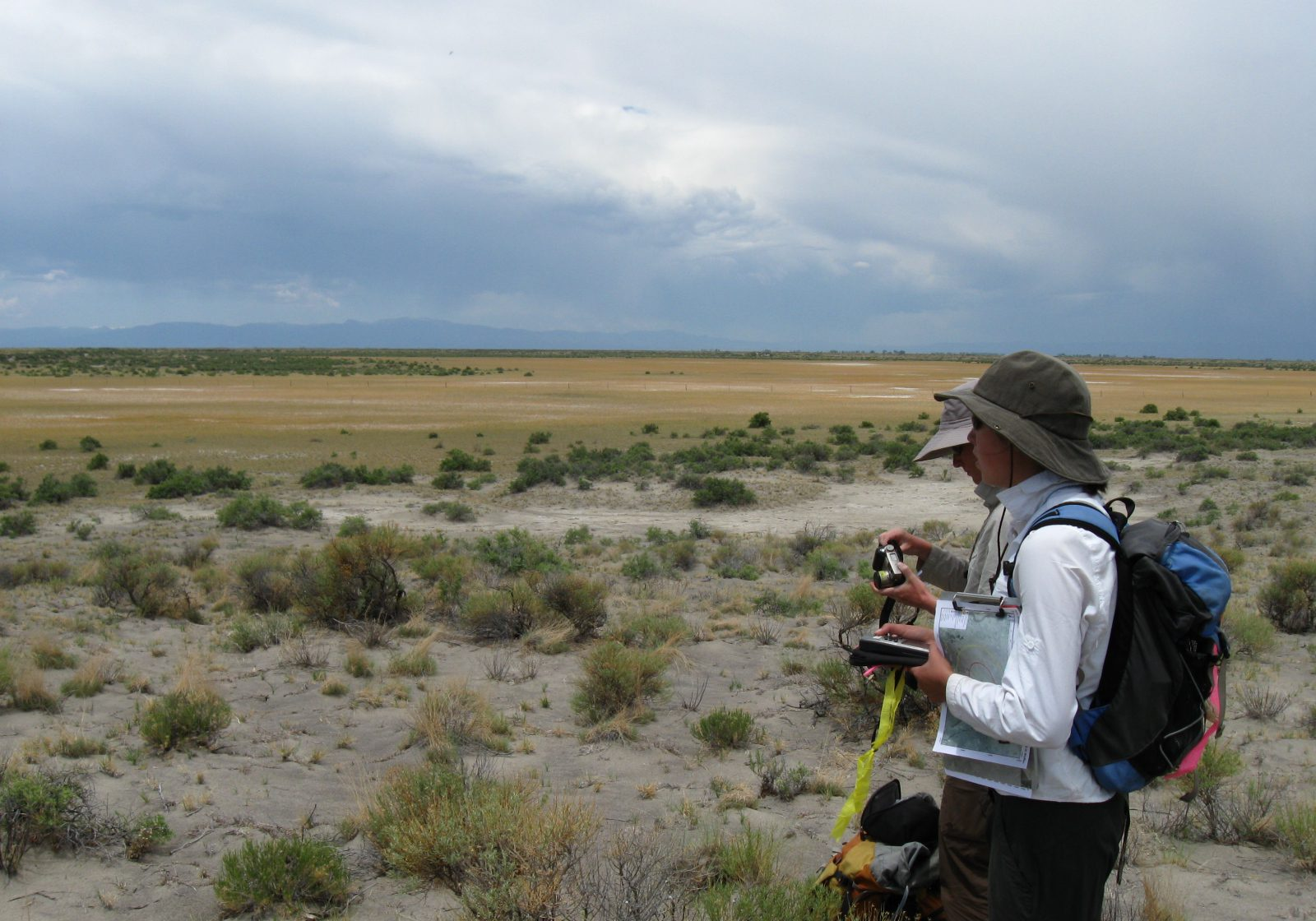Overlooking a large playa wetland in the San Luis Valley. CNHP Staff.