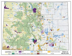 Colorado Ownership, Management and Protection map by land status.