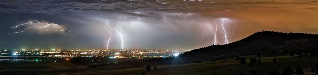Lightning storm on the Front Range by Michael Menefee