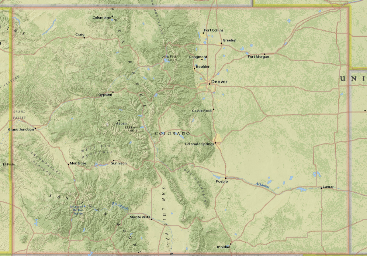 A Colorado basemap in the Biotics online mapping application.