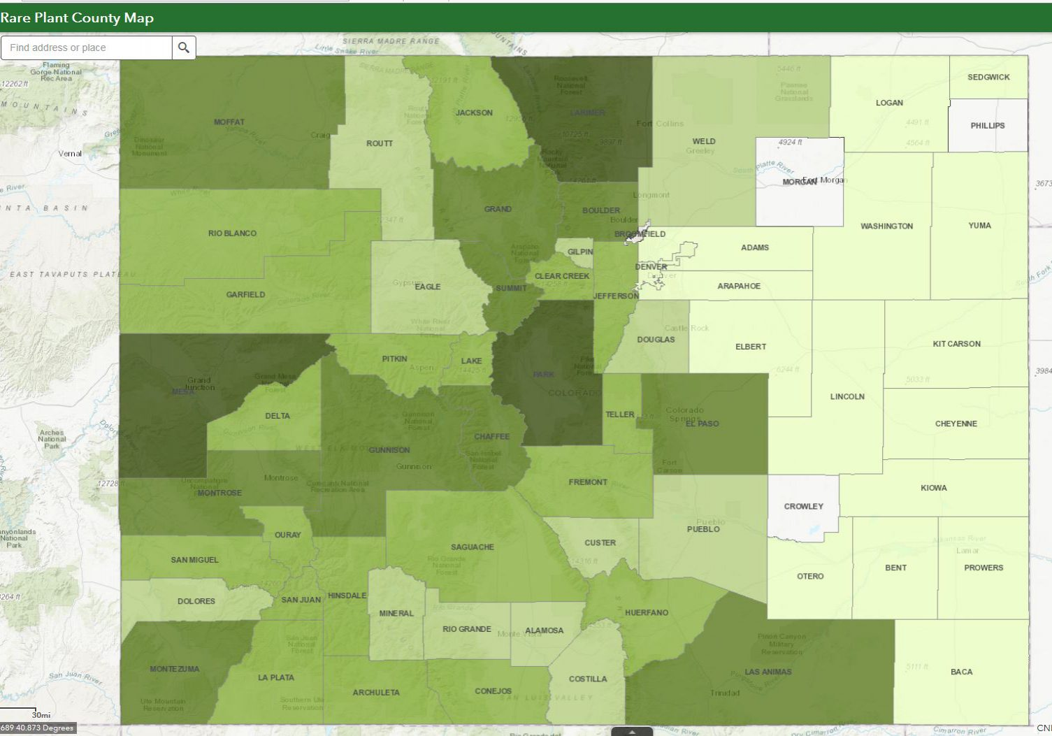 Rare plant county interactive map